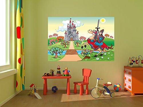 selbstklebende Fototapete - Kinderbild - Ritter vor einer Burg - 300x200 cm - Tapete mit Kleber – Wandtapete – Poster – Dekoration – Wandbild – Wandposter – Wand – Fotofolie – Bild – Wandbilder - Wanddeko