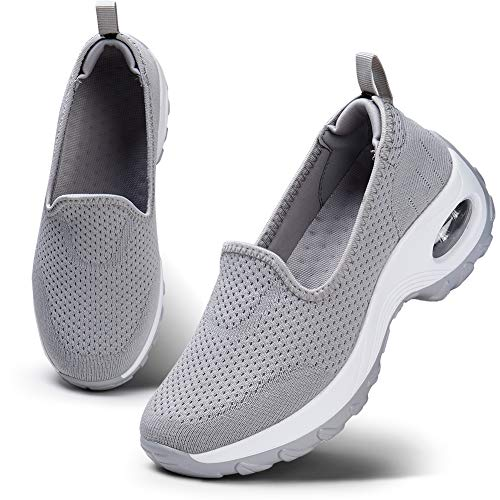 Sneakers Zeppa Donna Scarpe da Ginnastica Corsa Sportive Fitness Running Mesh Air Scarpe Casual All'Aperto Gym Scarpe da Corsa su Strada Donna Grigio 41 EU
