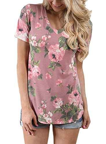 Minetom Damen Sommer Blumen Bluse mit Kurze Ärmel T-Shirt V-Ausschnitt Oberteil Shirt Casual Top Pink