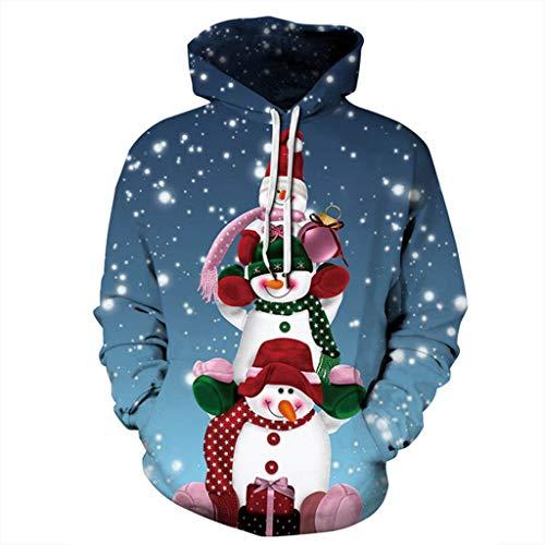 Hoodieswj Unisex 3D Pulloverhoodie 2019 Weihnachten Netter Schneemann 3D Digital Printing Tide Männer Kapuzen Pullover Sweater Baseball-Trikot,D,L