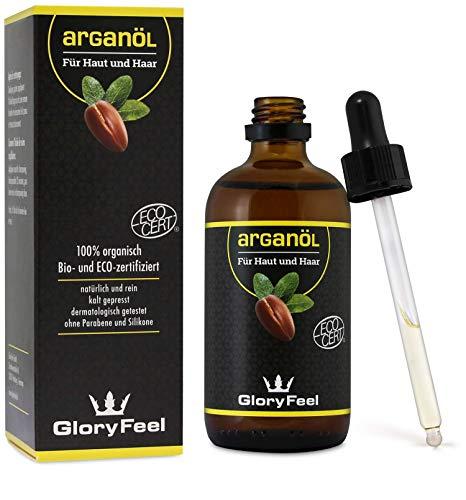 Arganöl Bio Kaltgepresst 100ml - Original reines Argan-Öl aus Marokko - Bio- & Eco-Zertifiziert - Natürliche Pflege für Haut und Haare - Dermatologisch getestet Hergestellt in Deutschland