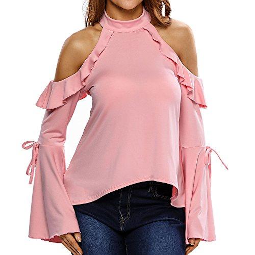 Uranus Damen Mode Schlüsselloch Kalte Schulter Rüsche Glocke Flare Hülse Bluse Top Rosa (Rüsche Rücken-tank)