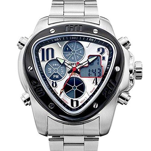 Euro Spirito Velocità Master Giappone movimento al quarzo orologio cinturino in acciaio inox per uomini, ragazzi Sunray Argento