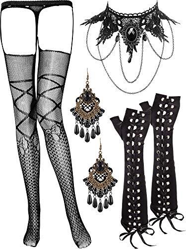 SATINIOR Spitze Choker Schwarz Halskette mit Fleck Handschuhe Ohrringe und Strümpfe Set für Damen Geburtstag Hochzeit Halloween Weihnachten -
