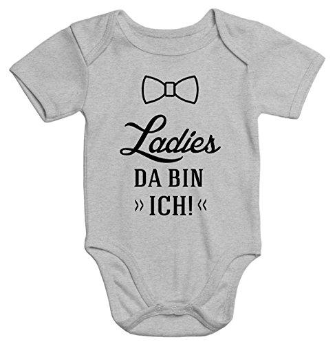 MoonWorks lustiger Baby-Body mit Aufdruck Ladies da Bin ich Bio-Baumwolle Kurzarm grau 0-3 Monate