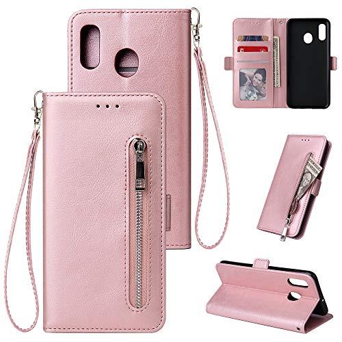 HUDDU Kompatibel mit Handyhülle für Samsung Galaxy A40 Hülle Leder Wallet Schutzhülle Kartenfächer Reißverschluss Brieftasche Magnetverschluss Filp Tasche PU Case Ständer Wristlet Rose Gold -