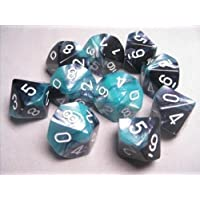 Chessex Dice Sets: Gemini Black & Shell with White - Ten Sided Die d10 Set (10)