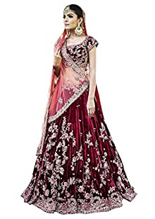 fc9557d489 Rozy Fashion Maroon Semi Velvet Semi Stitched Lehenga Choli Material Light  Pink Net Dupatta