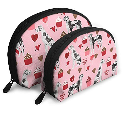 Great Dane Valentines Portable Reise-Kosmetiktaschen Organizer Set of 2 for Women Teens Girls - Dane Zip