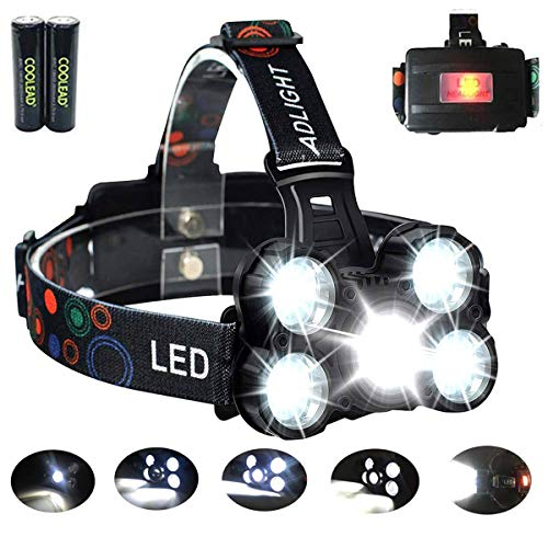 COOLEAD Lampe Frontale Puissante et Confortable de 10000 Lumens, 4 Modes avec Flash, Zoom in/Out, Facile a Utiliser, Idéal pour la Course a Pied,Trail,Vélo,Running,Camping,Bricolage.