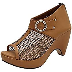 ROCKSY Women's Tan Peeptoes - 5 UK