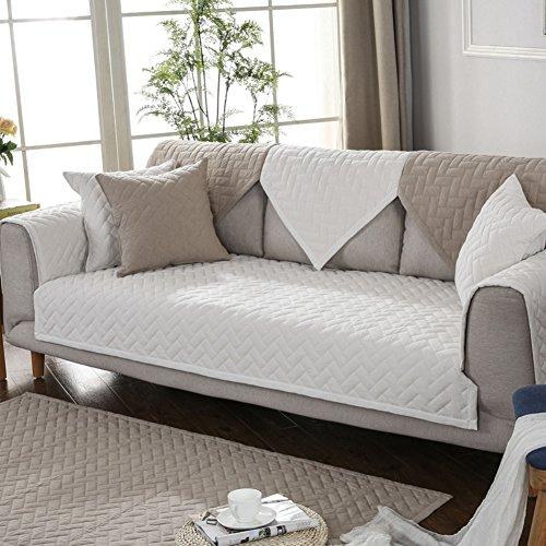 HMWPB Baumwoll-Sofa Cover Slipcover, Anti-Rutsch sofabezug für Sectional Sofa Möbel Sofa beschützer für 2 Gesteppt,3 Kissen Couch -Weiß 90x90cm(35x35inch)