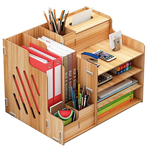 Haoli-sj Büro-Desktop-Aufbewahrungsbox aus Holz Bücherregal mit Schublade mehrschichtige Bürobedarf Informationsbuch Datei Holzgestell (Farbe : A) (Datei Schublade Bücherregal)