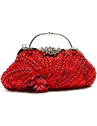 Generic Partywear Women's Rose Pattern Casual Leather Clutches 10 Ltr With Small Beads Red Color