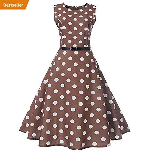 Neun Vintage Kleid,Yesmile Jahre Kleider Damen Polka Dots Solide Kappen Hülse Retro Vintage Sommerkleid Rot Sexy Party Picknick KleidRundhals Abendkleid Prom Swing Kleid (2XL, (Günstige Pin Up Girl Kostüme)