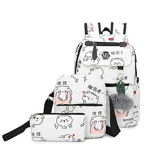 HGHGS hochwertige Leinwand Schultaschen für Mädchen Schultasche Rucksack Mode Druck für Damen RucksäckeRucksack 白色 37 * 27 * 12CM -