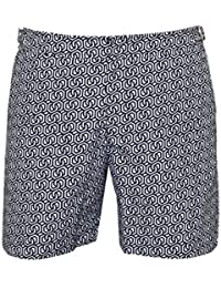 Orlebar Brown Mens Bulldog themis Geometric Swim Shorts, Navy White Swimming Trunks