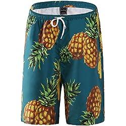 FANHANG Los Hombres y Las Mujeres Junta Pantalones Cortos con piña Impresion Digital (Verde, XL)
