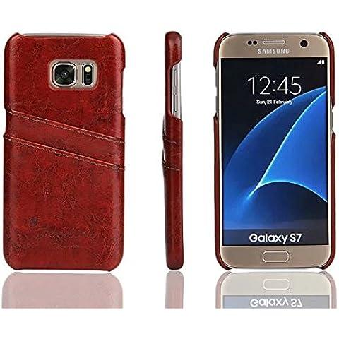 Distinct® Coperchio di lusso PU carta di cuoio fessura posteriore dura di caso per Samsung Galaxy S7 (Marrone) - Goffratura Cera