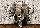wandmotiv24 Fototapete Elefant 3D Wanddurchbruch L 300 x 210 cm - 6 Teile Fototapeten, Wandbild, Motivtapeten, Vlies-Tapeten Tier, Mauer, Bruch M1238
