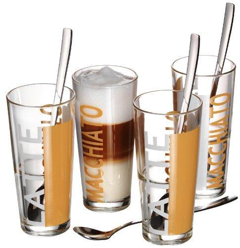 Ritzenhoff & Breker Latte Macchiato Gläser Java mit Löffel, 8-teilig, 350 ml