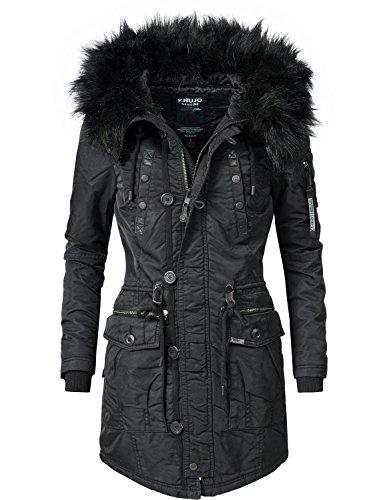 Khujo Damen Mantel Wintermantel Winterparka YM-Halle (vegan hergestellt) Schwarz Gr. L