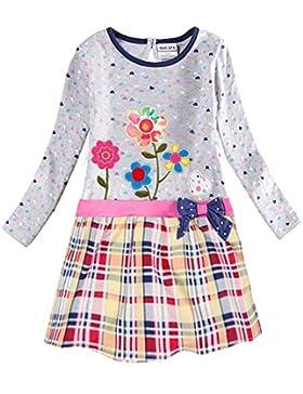 Novatx Vestito Manica Lunga Cotone Vestiti H6328 Bambine e ragazze 1-6 anni