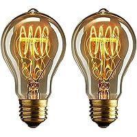 Nostalgic Buyee 2 * 40 Watt Vintage Edison Bombilla bombillas, luz blanca cálida, de filamento-style bajera de percale de plástico