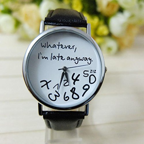 Frauen Armbanduhr, Kingwo Dame Uhren Armbanduhren Neue Mode Weihnachten älteres Muster Leder Band Analog Quarz Vogue Uhren (A) (Schlaf-muster Gesunde)