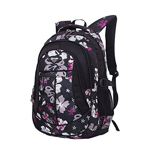 Tinksky Mädchen Student Schultasche Bookbag Rucksack Blume Gedruckt Primärbeutel Kleine Größe (Schwarz) (Kleines Mädchen Bookbags)