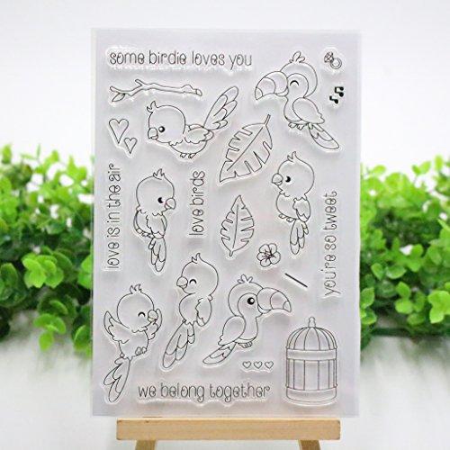Bduco Transparente Stempelbögen aus Silikon für DIY Scrapbooking Karten machen Fotoalbum Deko (Papageie)