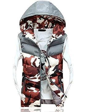 Zhuhaitf ropa de calle Men's Spring Autumn Vest Hood Sleeveless Camouflage Zipper Outerwear Jacket