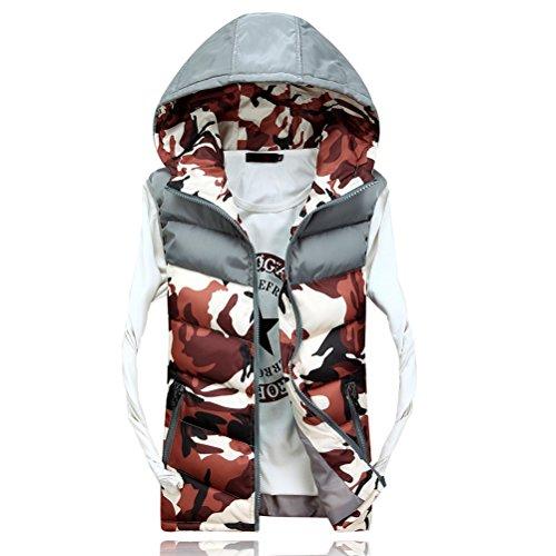 Linyuan bonne qualité Men's Spring Autumn Camouflage Zipper Outerwear Vest Hood Sleeveless Café