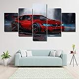 Xvhsx Leinwanddrucke Wandkunst Leinwand Malerei Hd Drucke Modulare Poster Für Wohnzimmer 5 Stücke BMW M4 Rot Sportwage