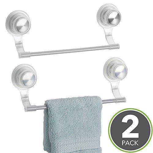 Zimmer Essentials Ball (mDesign Saugnapf zur Wandmontage Kunststoff und Metall Waschlappen Handtuchstange für Badezimmer Dusche - 2er Set transparent/Edelstahl)