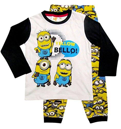 Minions Schlafanzug Kollektion 2016 Pyjama 92 98 104 110 116 122 128 134 140 146 152 Lang Jungen Neu Herbst Winter Nachtwäsche Gelb-Blau (98 - 104; Prime, Dunkelblau-Gelb)
