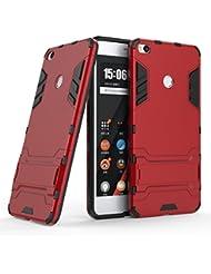 Fundas Xiaomi Mi Max 2 Carcasa Cover, Ougger Protector Extrema Absorción de Impacto [Kickstand] Piel Armor Cover Duro Plástico + Suave TPU Ligero Rubber 2in1 Back Gear Rear (Rojo)