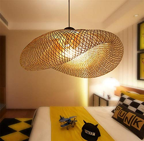 CAIDUO& Pendelleuchten Retro Südostasiatischer Stil Bambus-Rattan Deckenlampe Tee Raum Wohnzimmer Leuchte Dekoration AC110-240V E27