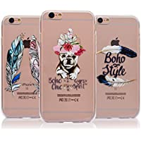 [3-Pack] iPhone 8 Case, iPhone 7 Case - Vandot 3 Pcs Clear Flexible Soft TPU Case Easy Grip Ultra Thin Slim Fit HD Painting Pattern Non-Slip Scratch Resistant Bumper Practical Protective Case Cover Pack of 3 for iPhone 8 / iPhone 7 4.7 inch - Feathers / Chic Puppy Dog / Boho Feather
