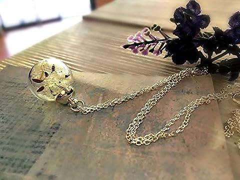 Collier de pissenlit en argent sterling 925 chaîne classique avec Boîte Cadeau Pendentif fleur breloque personnalisé Bijoux cadeaux pour anniversaire ou demoiselle