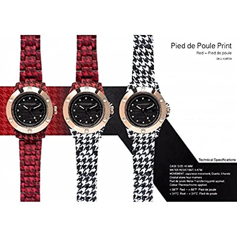 Clock Unisex kamawatch Houndstooth Print Collection Red–Houndstooth Cod. kwp09