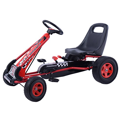 GOPLUS GoKart Go Cart Kettcar Tretauto Tretfahrzeug mit Gummireifen Farbwahl (rot)