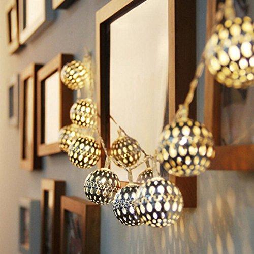 TYJH Solar-Outdoor-Garten Leuchtet Marokko Silber Ball Lichter Zeichenfolge 20LED Urlaub Hochzeit Garten Dekoration Energiesparende Laterne,Warmwhite