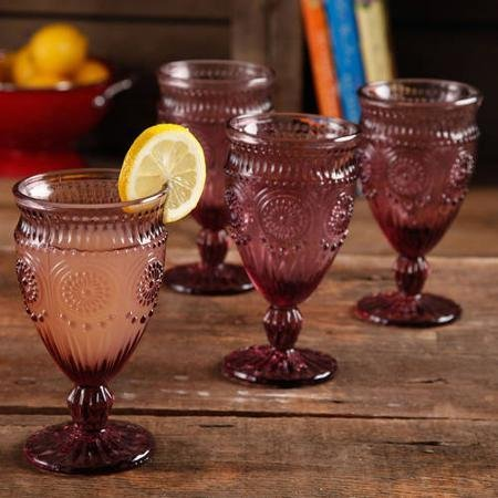 The Pioneer Woman Adeline Embossed 12-Ounce Footed Glass Goblets, Set of 4 (Plum) by The Pioneer Woman Footed Goblet