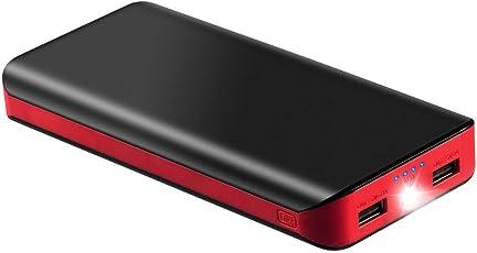 Externer Akku 25000mAh Akku Powerbank Portable Externer Ladegerät mit 2 USB Ports 4 Stromanzeige und Super Helles LED-Licht Große Kapazität Power Bank Ladegerät für iPhone iPad Samsung Tablet Kameras PSP und Andere Smartphones