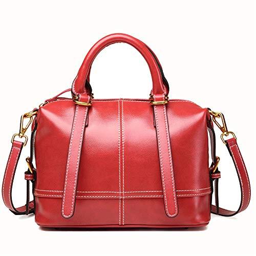 Kieuyhqk Frauen Brown Commuter Tote Bag Mode Schulter Crossbody Tasche Vintage Joker Handtasche Frauen Casual Handtasche Schulter-Handtasche (Farbe : Rot, Größe : L)