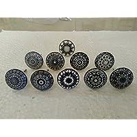 Lot de 10boutons de meuble assortis en céramique style vintage motif mandala - Pour porte, placard, tiroir, armoire