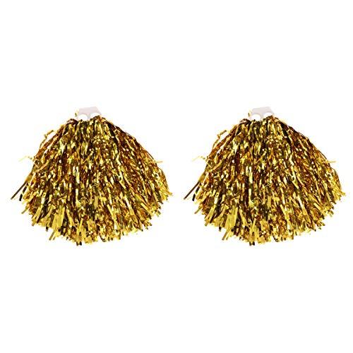 Clispeed pon pon da cheerleader colorato di foil pompon per rallegrare per feste carnevale costume 1 paio - oro