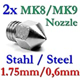 2x MK8 MK9 Präzisions 3D Drucker Düse Edelstahl 0,6mm