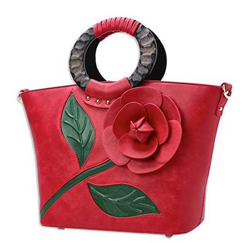 KAXIDY Damen Mode Blume PU Leder Handtasche Umhängetasche Handgelenkstaschen Henkeltaschen Rot